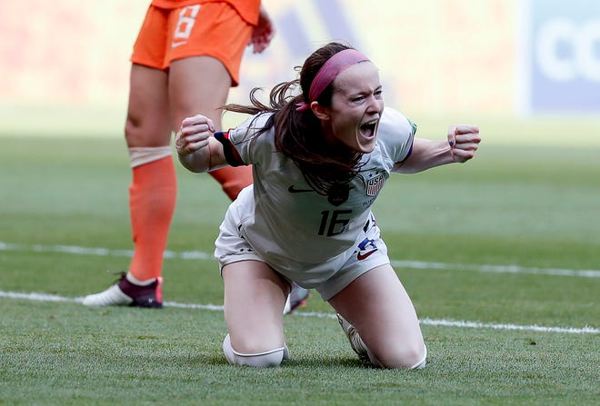 Rose Lavelle celebrates after scoring during the final match between USA and Netherlands at the FIFA Women's World Cup 2019 in Lyon, France.