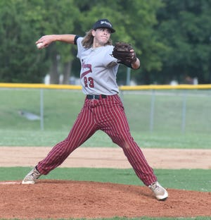 Mountain Home's Garrett Steelman delivers a pitch during a recent game at Cooper Park. Lockeroom finished second in the Glen Winget Memorial Tournament in Bartlesville, Okla., over the weekend.