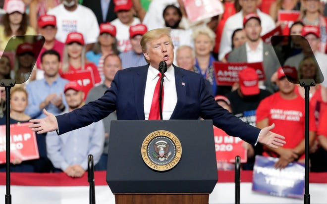 President Donald Trump speaks to supporters where he formally announced his 2020 re-election bid Tuesday, June 18, 2019, in Orlando, Fla. (AP Photo/John Raoux)
