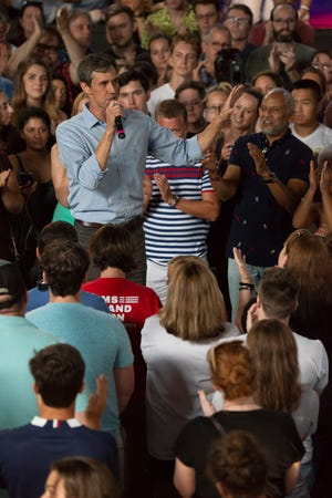 Beto O'Rourke delivers a speech to a receptive crowd at Marathon Music Works in Nashville, Tenn., Sunday, July 7, 2019.