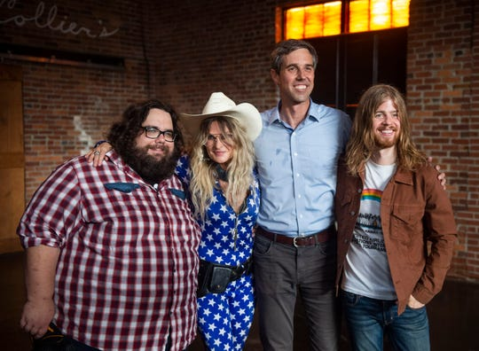 Beto O'Rourke poses with Elizabeth Cook and other opening performers at Marathon Music Works in Nashville, Tenn., Sunday, July 7, 2019.
