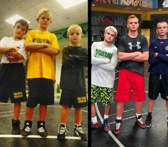 In this split-screen photo, wrestlers Joey Nadotti, Chase Singletary and Colby Singletary are shown as youngsters and later at the high school and middle-school level. The picture on the left shows Nadotti, 8, Chase Singletary, 8, and Colby Singletary, 5, after all three Bear Wrestling Club grapplers earned spots at the USA Wrestling national competition in 2006. The three, with Chase then a nationally-decorated high school wrestler at Blair Academy in New Jersey, recreated the photo nearly a decade later. Colby Singletary was killed in a car crash Saturday in Golden Gate Estates.