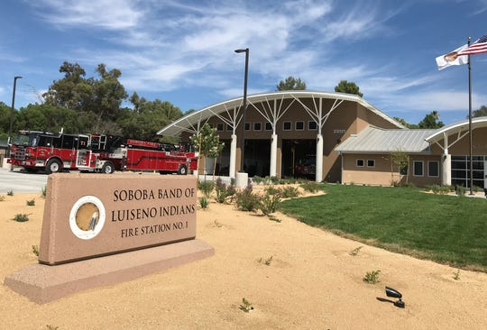 The Soboba Band of Luiseno Indians' fire station that opened in June is seen on July 3, 2019. The station is across from the tribe's casino which opened earlier in 2019.