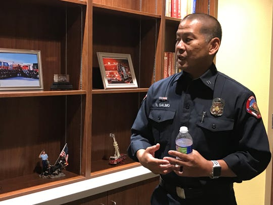 Capt. Roger Salmo gives The Desert Sun a tour of the Soboba Band of Luiseno Indians' new fire station in San Jacinto on July 3, 2019.