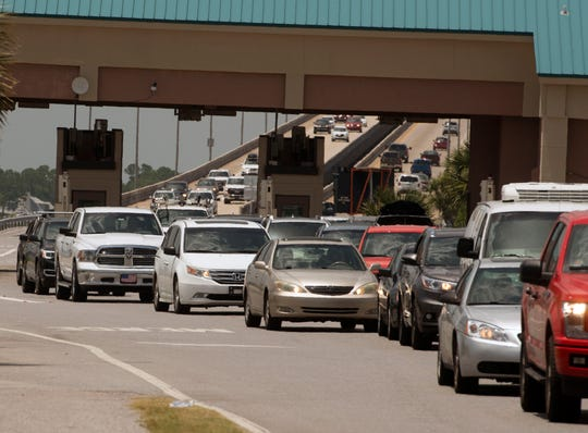 Traffic backs up July 7 at Pensacola Beach.