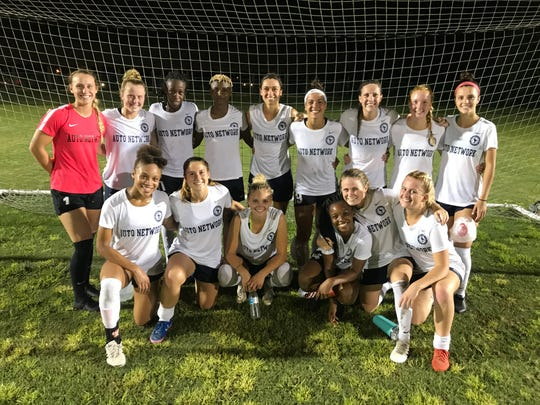 Pensacola FC Women celebrate a 7-0 over Rangers Ladies FC on July 6, 2019. Pensacola FC is fielding two teams in the Women's Professional Soccer League in 2019.