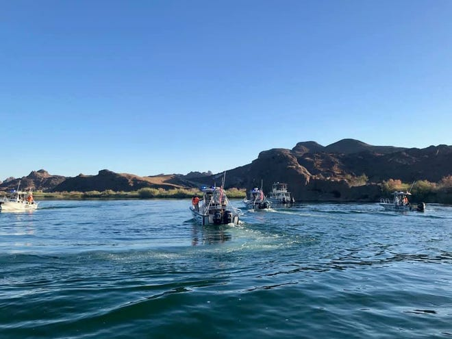 Rescue crews search the Colorado River for a 16-year-old boy who went missing after jumping into the river, north of Lake Havasu, on Friday, July 5, 2019, according to Mohave County Sheriff's Office. The boy's body was recovered Saturday, July 6, 2019, and identified as Chance Huerta, of Victorville, California.