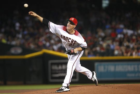 Diamondbacks' Zack Greinke (21) pitches during the first inning against the Colorado Rockies at Chase Field in Phoenix, Ariz. on July 5, 2019.