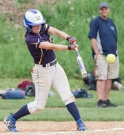 Gillian Toomey, seen here in softball action, scored a run for East Prospect in Susquehanna League baseball action on Saturday morning.