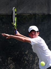 Sean Jaeger during the opening day of the 2019 USTA Intersectional 16s Team Championship Sunday morning at Pierremont Oaks Tennis Club.