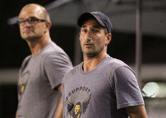Tallahassee Soccer Club head coach Josh Bruno watches as TLHSC beat Hattiesburg FC 1-0 on Saturday, July 6, 2019, to clinch a Gulf Coast Premier League playoff berth in its last home game of its inaugural season.