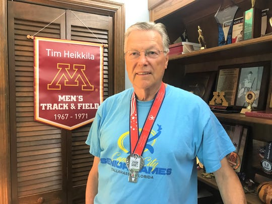 """Tim Heikkila won a silver medal in the high jump at the Senior Games in Albuquerque, New Mexico. He cleared 4'9"""" in the event."""