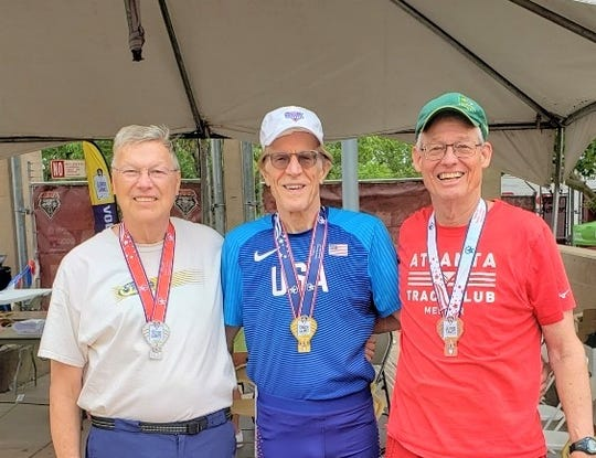Tim Heikkila (left) was the silver medalist in the high jump at the 2019 Senior Games in Albuquerque, New Mexico. He poses gold medalist David Montieth (center) and former Florida State Seminoles athlete James Sauers at the conclusion of the event.
