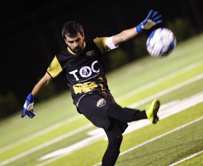 Tallahassee Soccer Club goal keeper Hugo Peruzzi takes a free kick as TLHSC beat Hattiesburg FC 1-0 on Saturday, July 6, 2019, to clinch a Gulf Coast Premier League playoff berth in its last home game of its inaugural season.