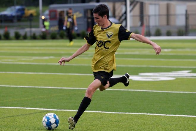 Tallahassee SC defender Joseph Peralta takes a free kick as TLHSC defeated Hattiesburg FC 1-0 at Gene Cox Stadium Saturday, July 6, 2019.