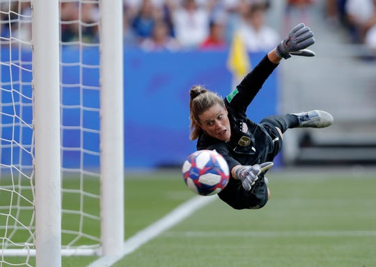 Unites States Alyssa Naeher dives for the ball against the Netherlands in the championship match of the FIFA Women's World Cup France 2019, July 7, 2019.