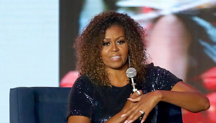 Michelle Obama speaks during the 2019 ESSENCE Festival Presented By Coca-Cola at Louisiana Superdome on July 6, 2019 in New Orleans.