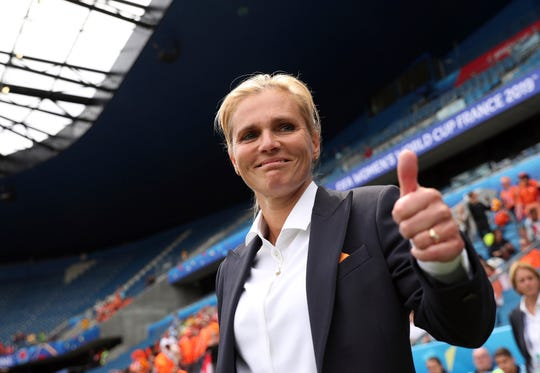 Netherlands coach Sarina Wiegman joins US coach Jill Ellis in the World Cup final, marking only the second time since the World Cup began in 1991 that both teams in the final will have a female coach.