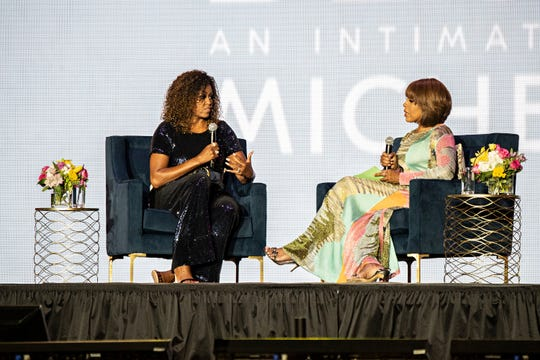 Michelle Obama and Gayle King participate in the 2019 Essence Festival in New Orleans.