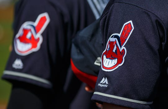 Chief Wahoo logos on the Indians' jerseys in 2018.