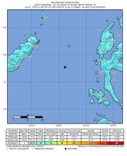 A handout photo made available by the US Geological Survey (USGS) shows a shake map of the 6.9 magnitude earthquake that hit eastern Indonesia, 07 July 2019. The Indonesian Geophysics Agency (BMKG) issued a tsunami alert for North Sulawesi after strong 6.9 earthquake hit in the Molucca sea off North Sulawesi.