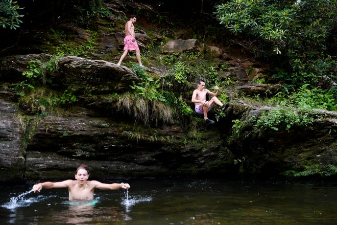 From left, Grant Huntley, Kyle Stevens and Cole Berkley take turns jumping into the Davidson River in Pisgah National Forest July 3, 2019.