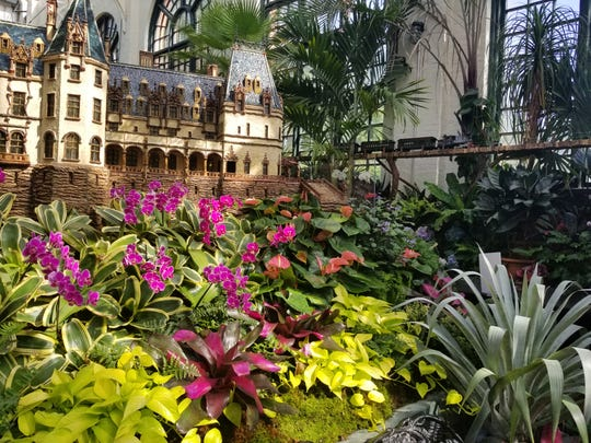 Biltmore Gardens Railway is on exhibit through Sept. 29 in the Conservatory and Antler Hill Village.