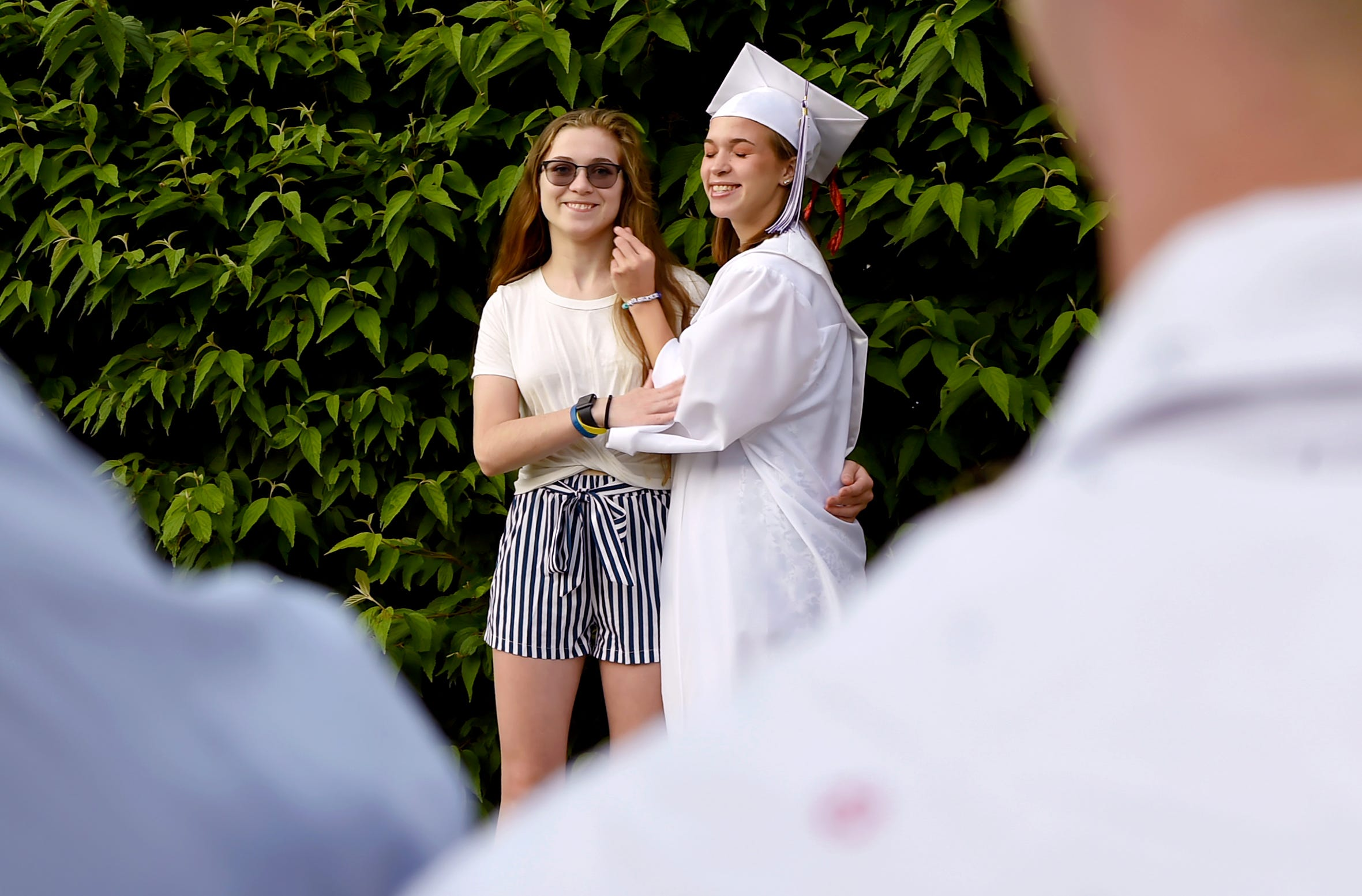 Sisters Bethany and Emily Brown before Emily's graduation from Downsville High School on Friday, June 28, 2019. Both Bethany and Emily were diagnosed with cystic fibrosis as toddlers.