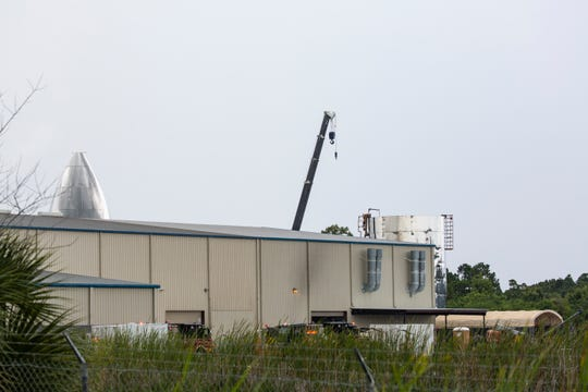 The Cocoa Fire Department responds to a fire at SpaceX's Starship facility in Cocoa on Monday, July 8, 2019.