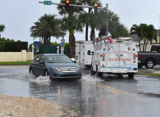 Heavy rains moving along the Space Coast on Sunday prompted the National Weather Service to issue a flood advisory for parts of Brevard.
