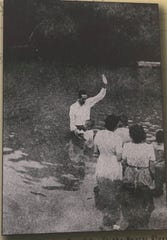 Baptisms in the Nueces River in the early 1940s.