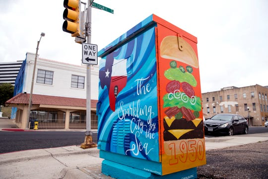 """Past to Present"" by artist Amanda Martinez was recently completed on an electrical box along Mesquite Street."