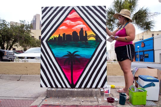 """Corpus Vibe"" by artist Leah Lasater was recently completed on an electrical box along Mesquite Street."