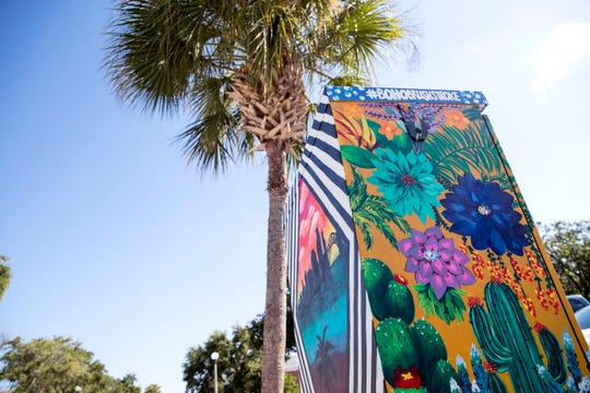 """Corpus Vibe"" by artist Leah Lasater was one of six designs out of 66 that received the most Facebook likes in a call for artists held by the Downtown Management District. The top six artists painted their selected designs on electrical boxes along Mesquite Street."