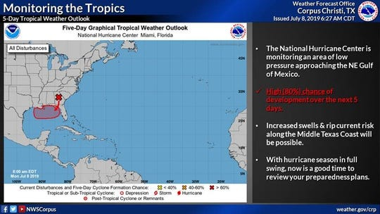 The National Hurricane Center is monitoring an area of low pressure approaching the north eastern Gulf of Mexico.