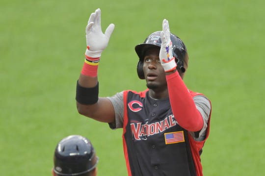 Jul 7, 2019; Cleveland, OH, USA; National League center fielder Taylor Trammell celebrates his RBI single in the fourth inning against the American League in the 2019 MLB All Star Futures Game at Progressive Field.