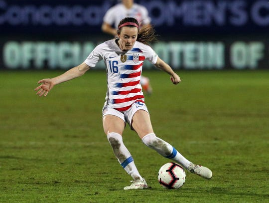 Oct. 17, 2018: USA midfielder Rose Lavelle takes a shot on goal in the first half of the finals of the CONCACAF Women's soccer Championship in Frisco, Texas.