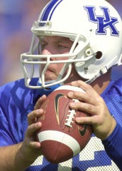 Kentucky quarterback Jared Lorenzen looks to pass during the first half against Middle Tennessee Saturday, Sept. 21, 2002, in Lexington, Ky.