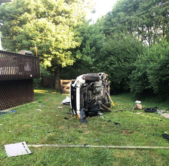 The driver of this car was charged after one passenger was killed and two others were injured in a July 8 crash in Burlington, Kentucky.
