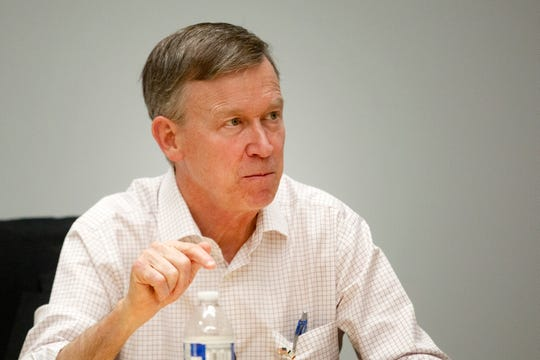 Gov. and 2020 Democratic candidate John Hickenlooper meets with the Des Moines Register's editorial board on July 8, 2019, at the Register's office in Des Moines.