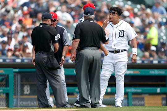 Detroit Tigers designated hitter Miguel Cabrera (24) argues with umpire Joe West (22) after getting ejected from the game during the second inning against the Boston Red Sox at Comerica Park.