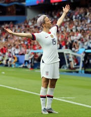 In perhaps the most iconic image of the recent women's World Cup competition in France, Megan Rapinoe of the United States celebrates her goal in the first half against France during the 2019 FIFA Women's World Cup France Quarter Final match between France and USA at Parc des Princes on June 28, 2019 in Paris, France. (Photo by Elsa/Getty Images)