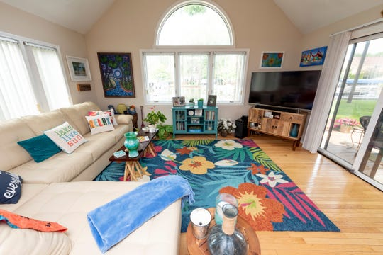 The family room overlooks the canals leading to Sylvan Lake at the home of Carolyn Krieger, in Sylvan Lake.