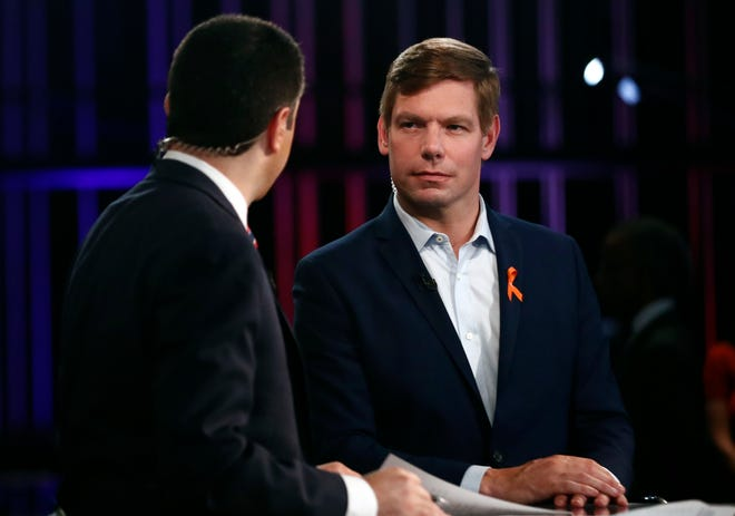 Democratic presidential candidate Rep. Eric Swalwell, D-Calif., speaks before the Democratic primary debate hosted by NBC News.