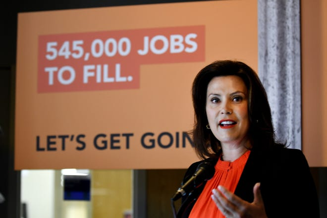 Gov. Gretchen Whitmer speaks about the 'Going Pro' campaign highlighting occupations and industries with job opportunities at a press conference at Wayne County Community College in Detroit on July 8, 2019.