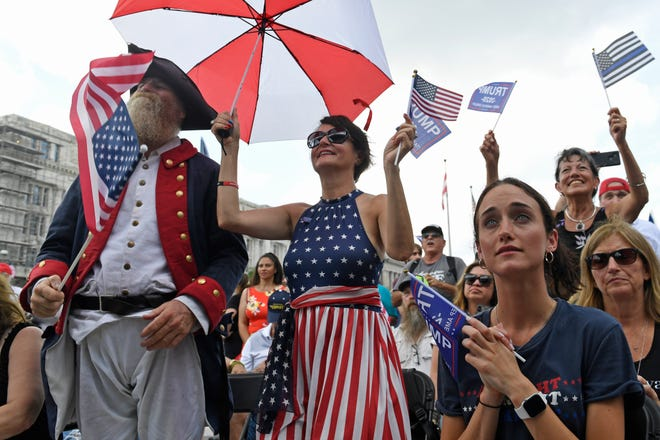 """People attend a """"Demand Free Speech"""" rally in Washington, Saturday, July 6, 2019."""