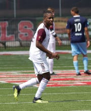 Shawn Lawson scored all three goals in Detroit City FC's 3-1 victory over AFC Ann Arbor Sunday at Concordia University, which clinched first place in the Great Lakes Conference Division.