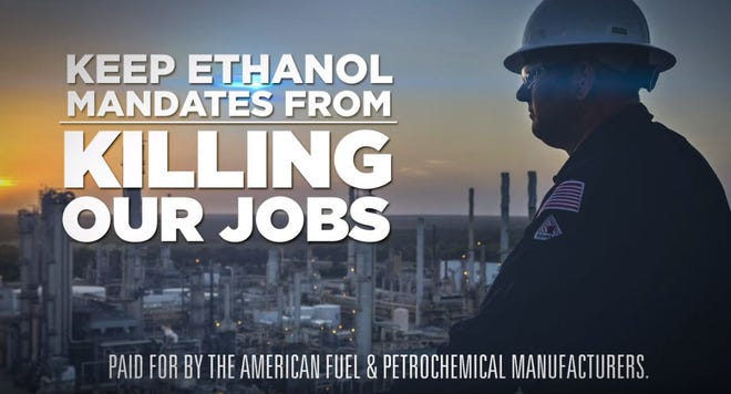 A screengrab from a television ad  criticizing President Donald Trump's moves to expand the use of ethanol in gasoline.