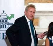 "In this Friday, Oct. 20, 2017 photo, British Ambassador Kim Darroch hosts a National Economists Club event at the British Embassy in Washington. Leaked diplomatic cables published Sunday, July 7,2 019, in a British newspaper reveal that Britain's ambassador to the United States described President Donald Trump's administration as ""clumsy and inept"" while grappling with international problems."