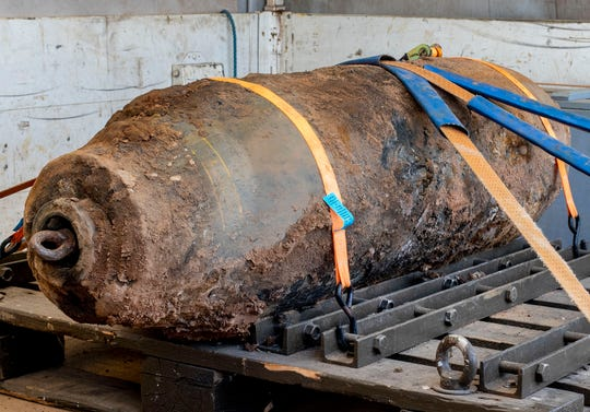 A defused WWII bomb, after 16,000 people were evacuated due to the defusing of the bomb near the European Central Bank in Frankfurt, Germany, Sunday, July 7, 2019. The bomb was discovered during construction work.